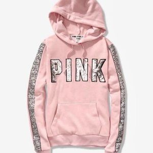 NWT VS Pink Bling Hooded Pullover Size Small